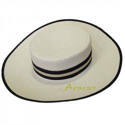 Sombrero sevillano-pamela de copa plana blanco CS571