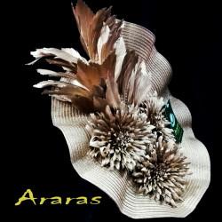 Tocado disco flor bronce en Araras