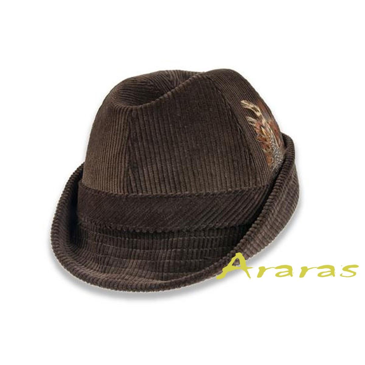 7563c1808de09 Sombrero Tirolés cosido de pana ala corta color marrón decorado con pluma.