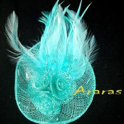 Mini tocado o broche disco 9 con plumas en Araras