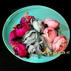 Tocado simanay turquesa con flores en Araras