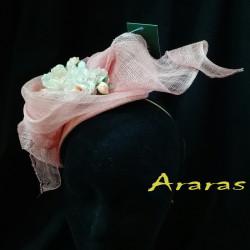 Tocado diadema simanay rosa palo en Araras